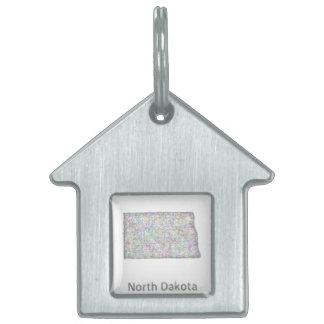 North Dakota map Pet Name Tag