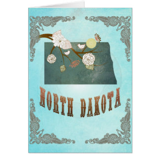 North Dakota Map With Lovely Birds Card