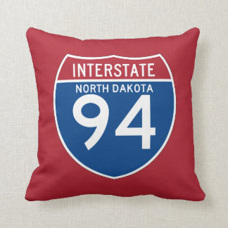 North Dakota ND I-94 Interstate Highway Shield - Throw Pillow