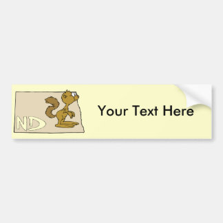 North Dakota ND Map & Prairie Dog Cartoon Art Car Bumper Sticker