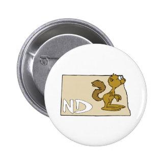 North Dakota ND Map & Prairie Dog Cartoon Art Pinback Buttons