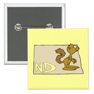 North Dakota ND Map & Prairie Dog Cartoon Art Pinback Button