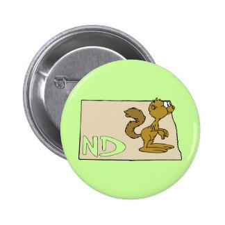 North Dakota ND Map & Prairie Dog Cartoon Art Button