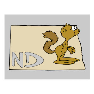 North Dakota ND Map & Prairie Dog Cartoon Art Postcard
