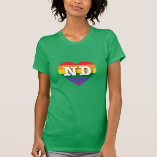 North Dakota ND rainbow pride heart Tee Shirt