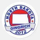 North Dakota Newt Gingrich Round Sticker