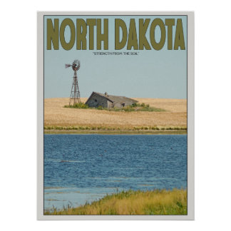 North Dakota - Old Farmstead - Green Poster