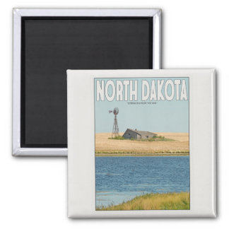 North Dakota - Old Farmstead - White 2 Inch Square Magnet