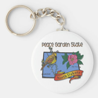 North Dakota Peace Garden State Lark Rose Basic Round Button Keychain