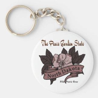 North Dakota Peace Garden State Prarie Rose Basic Round Button Keychain