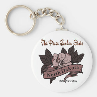 North Dakota Peace Garden State Prarie Rose Key Chains
