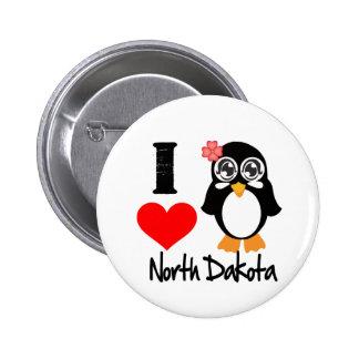 North Dakota Penguin - I Love North Dakota Pinback Buttons