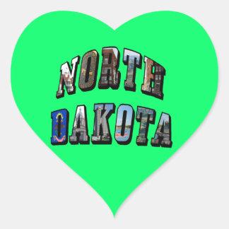 North Dakota Picture Text Heart Sticker