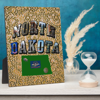 North Dakota Picture Text Display Plaque