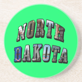 North Dakota Picture Text Sandstone Coaster