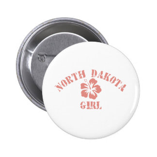 North Dakota Pink Girl Pinback Button
