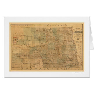 North Dakota Railroad Map 1892 Cards