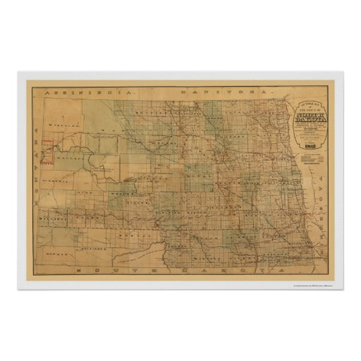 North Dakota Railroad Map 1892 Posters