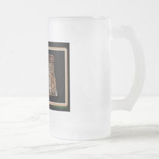North Dakota Rig Up Camo Frosted Glass Beer Mug