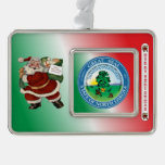North Dakota Santa Claus Christmas Ornament Silver Plated Framed Ornament