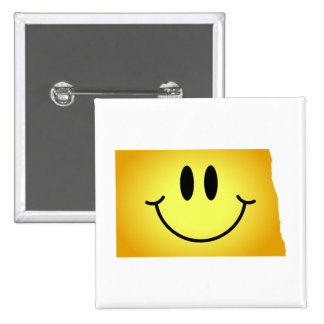 North Dakota Smiley Face Pinback Button