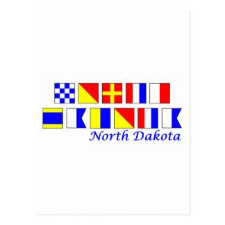 North Dakota spelled in nautical flag alphabet Postcards