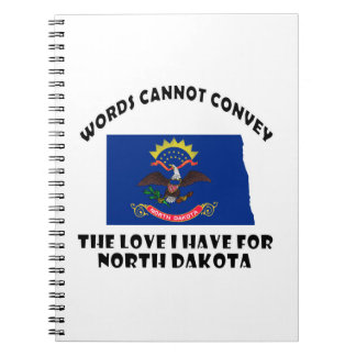 North Dakota state flag and map designs Spiral Notebooks