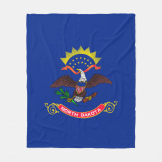 North Dakota State Flag Design Fleece Blanket