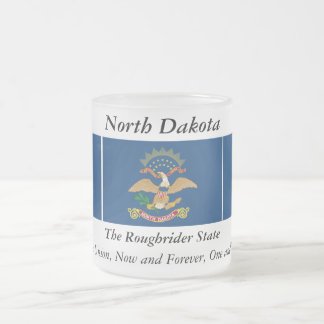 North Dakota State Flag Frosted Glass Coffee Mug