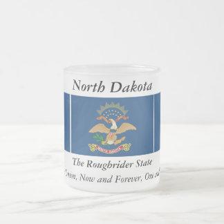 North Dakota State Flag 10 Oz Frosted Glass Coffee Mug