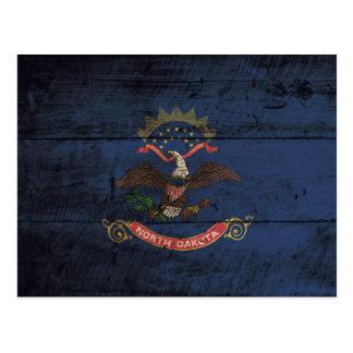 North Dakota State Flag on Old Wood Grain Postcard