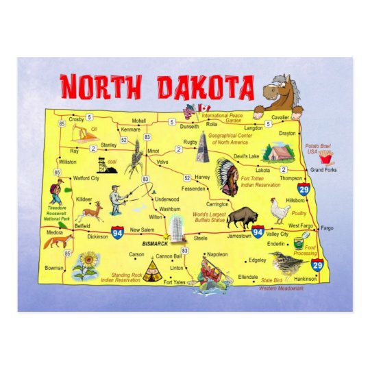 North Dakota State Map Postcard Zazzlecom