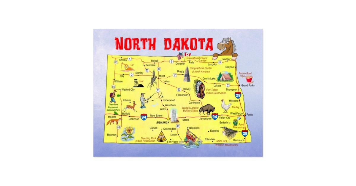 North Dakota State Map Postcard | Zazzle.com