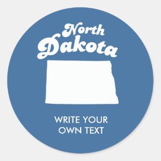 NORTH DAKOTA STATE MOTTO T-SHIRT CLASSIC ROUND STICKER