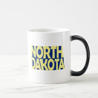 North Dakota State Name Word Art Yellow Magic Mug
