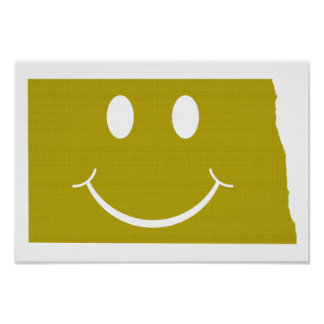 North Dakota State Shape Smiley Face Poster