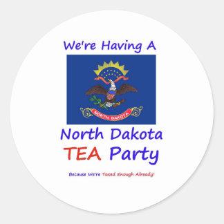 North Dakota TEA Party  We're Taxed Enough Already Classic Round Sticker