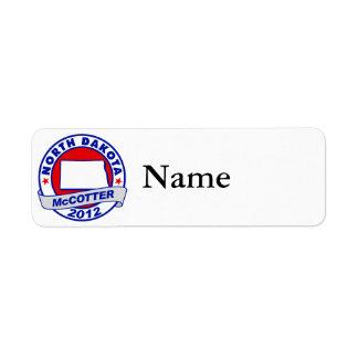 North Dakota Thad McCotter Return Address Label