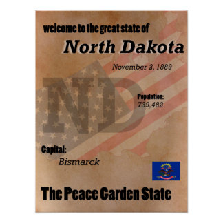 North Dakota The Peace Garden State Classic Poster