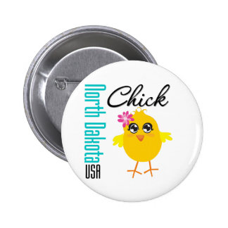 North Dakota USA Chick Pinback Button