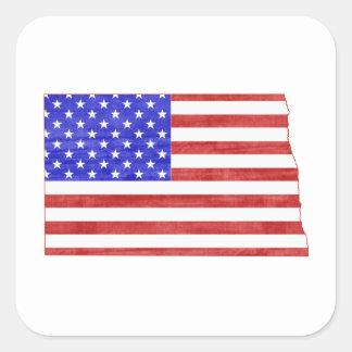 North Dakota USA flag silhouette state map Square Sticker