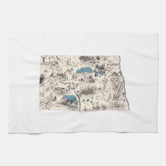 North Dakota Vintage Picture Map Hand Towel