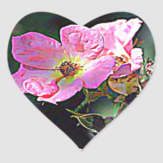 North Dakota Wild Rose Heart Sticker