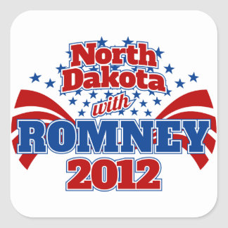 North Dakota with Romney 2012 Square Sticker