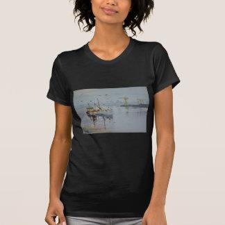 North East England Fishing Boat Black Tee Shirt