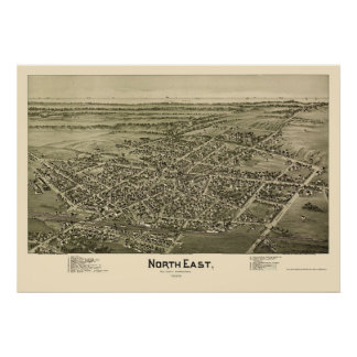 North East, PA Panoramic Map - 1896 Poster