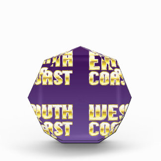 North East South West Coast golden letters Acrylic Award