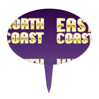 North East South West Coast golden letters Cake Topper