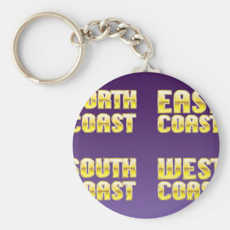 North East South West Coast golden letters Keychain
