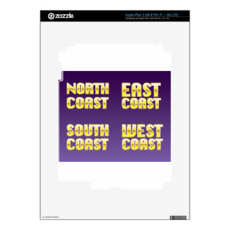 North East South West Coast golden letters Skins For iPad 3